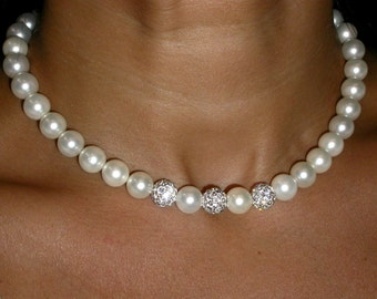 10 mm  Pearl Necklace with Swarovski Crystals