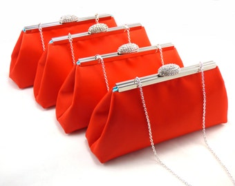 Set of Four Bridesmaid Clutches 5% Off, Bright Red and Aqua Blue Bridesmaid Gift, Bridal Clutch, Mother of the Bride Gift, Wedding Clutch