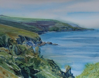 Original seascape painting, watercolour of Cornwall, painting of cliffs and coast, Zennor, Cornish art, watercolor seascape