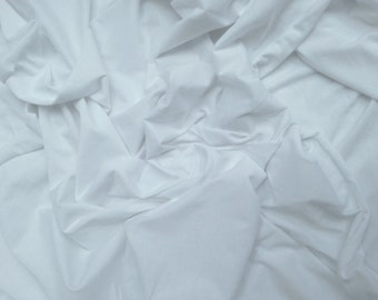 White Egyptian Cotton Spandex Fabric 4 Way Stretch Jersey Knit by the Yard Made in the USA