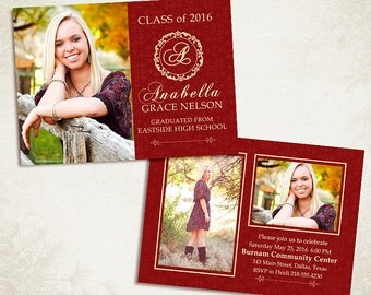 Senior Graduation Announcement Template for Photographers 006 - ID0109, Instant Download