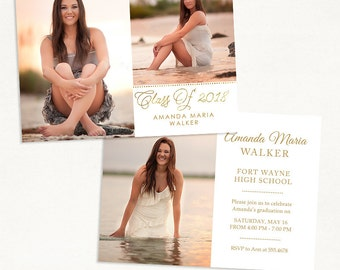 Senior Graduation Announcement Template for Photographers 015 - ID229, Instant Download