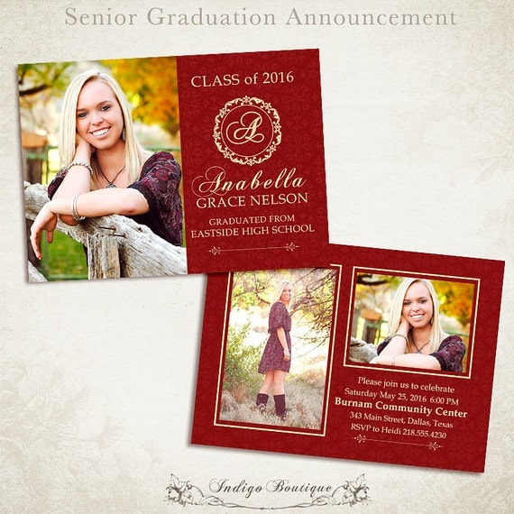 Senior graduation announcement template for photographers 006 for Senior announcement templates free