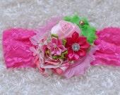 baby headband,pink green Shabby Headband, Easter baby Headband, Baby headbands, newborn headband, flower headband, baby girl  hairbow