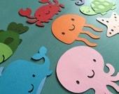 Set of 8 Underwater Sea Animals - Whale, Octopus, Fish, Jellyfish, Seahorse, Crab, Turtle, Starfish