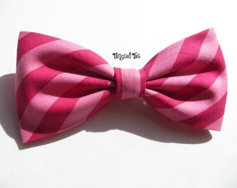 Pink Ombre, Raspberry Ombre, Watermelon Ombre Striped Bow Tie, Wedding Bow Tie - Any Size