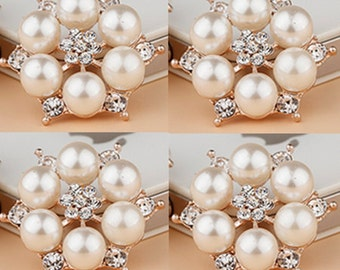 4 Flat Back Rhinestone and Pearl Button (27 mm)  DT-010