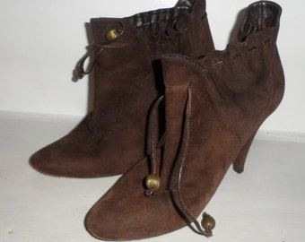 lulu guiness  elf  pixie  granny boot shoe  brown suede leather with hanging bead laces size 36  size 6 to small 6.5 as fit me