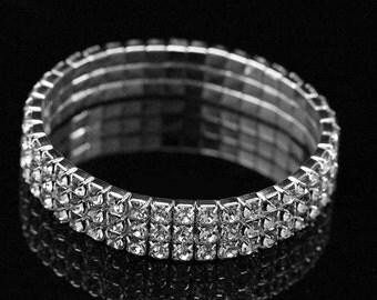 Rhinestone Wedding Bracelet, Rhinestone Bridal Bracelet, Crystal Rhinestone Cuff Bracelet, Silver Wedding Jewelry