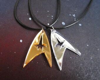 Star Trek Enterprise Starfleet Command Insignia Logo Necklace in Gold OR Silver