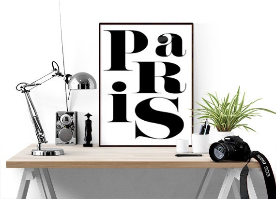 Items similar to paris poster black and white wall art for Black and white paris wall mural