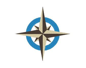 Compass Navigation Star Embroidery Design