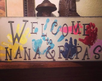 Welcome to Nana & Papa's Sign-Grandparent Sign-Grandparent Gifts-DIY Projects-DIY-Signs-Gifts for Grandparents-Wood Letters