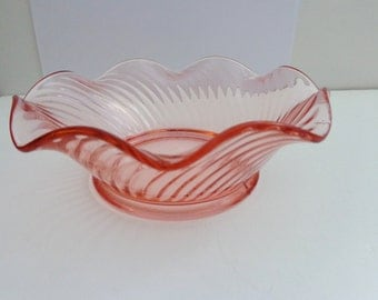 Vintage Pink Depression Glass 1940's Bowl,