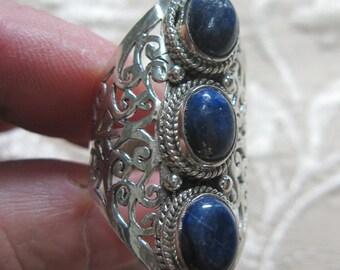 Multi Lapis Lazuli Sterling Ring Size 9