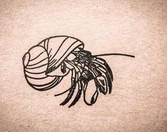 Hermit Crab Rubber Stamp
