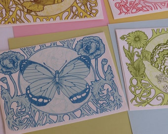 Set 4 Groovy Current Semi-Phychedelic Butterfly Envelopes w/ Stationery