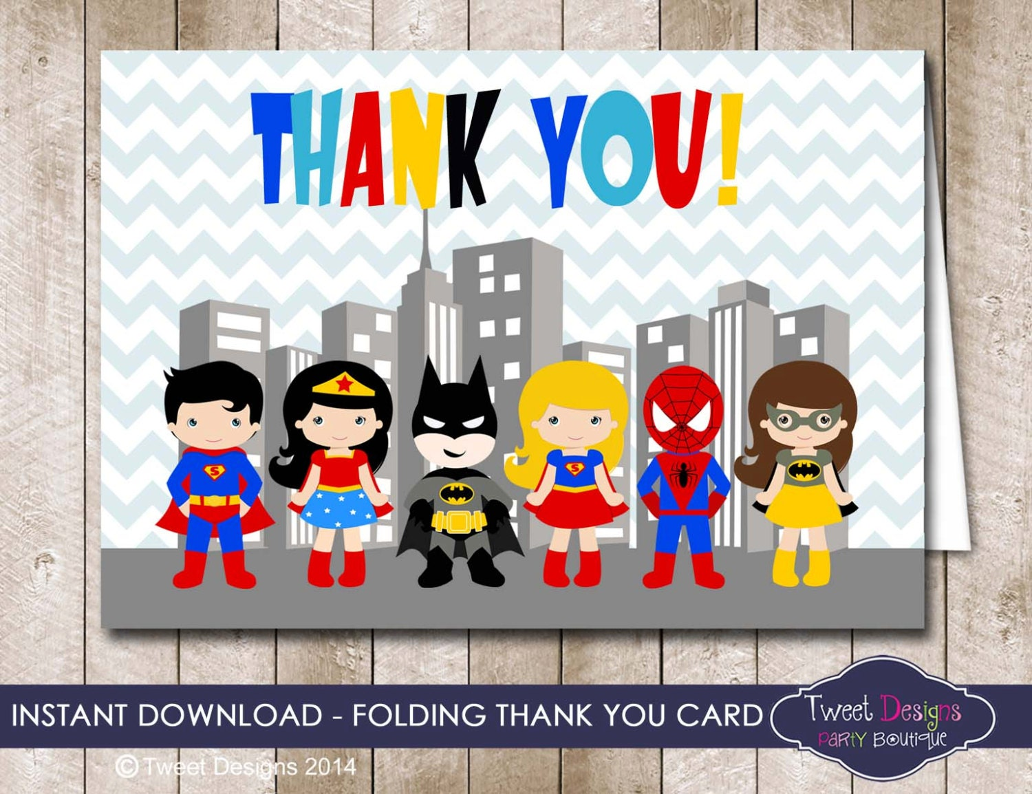 SUPERHERO THANKYOU CARD Instant Download Superhero Thank you