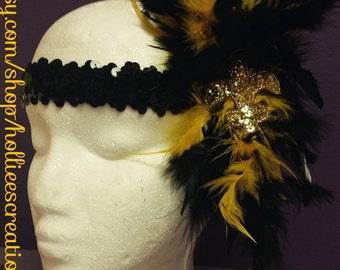 feather boa black and gold headband