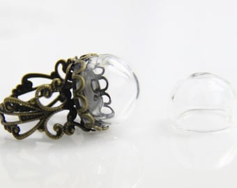 6 pcs glass globe with 15mm brass ring set not glue open for your charms(Antique silver ring)
