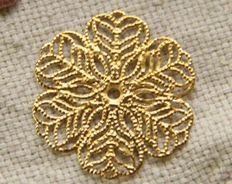 48 pcs of brass filigree charm 27mm-1597-RAW brass