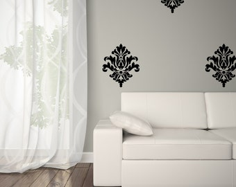 Damask Decals Wall Art - Damask Wall Decal - Vinyl Damask 0038