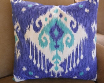 Big Sale !!! This beautiful ikat print Blue,Gray,Purple Pillow Cover 18x18