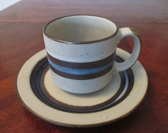 Vintage Otagiri Horizon Cup and Saucer Set Handcrafted Dinnerware Stoneware Made in Japan Beautiful Earth Tones