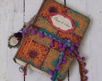 Boho gypsy wedding guest book,photo album,Spanish holiday photo album. Custom made handbound