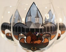 Kentucky Derby Wine Glass, Hand Painted, MADE TO ORDER, 1 Glass