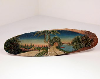Vintage Fort Atkinson Wisconsin Painted Wood Tree Plaque Souvenir Country Lake Life Scene Boating