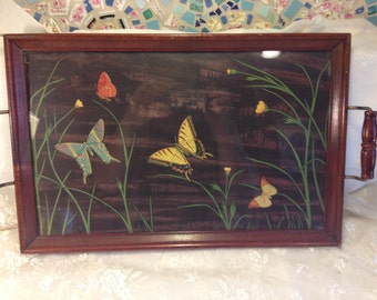 Amazing Antique Butterfly Tray - Wood Tray with Beatufiul Black Print