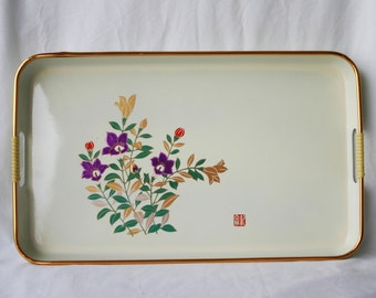 Vintage Serving Tray by Lida's of Japan / Purple Flowers
