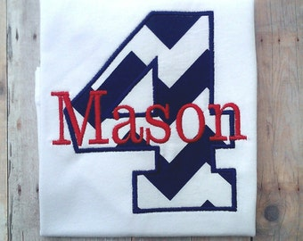 Personalized Navy Blue Chevron Boys Fourth Birthday Shirt / Boys Birthday Shirt