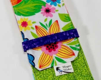 Tropical Flowers with Purple, Green, and Orange DPN Knitting Needle Case Sock Needle Holder