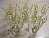 Vintage Mid Century Modern Juice Glasses Golden Mustard Color with Kitchen Appliance Motif LIKE NEW 1960's Retro Glassware