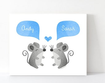 MOUSE Couple Wall Art Personalized Housewarming Gift New Home Gift for Animal Lover Gray Blue Home Decor - 5x7 or 8x10 Print