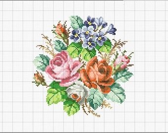 Embroidery pattern-Antique Bouquet flowers-Cross Stitch pattern-Vintage Embroidery-retro-Аntique  embroidery-Cross Stitch scheme-NeedleWork