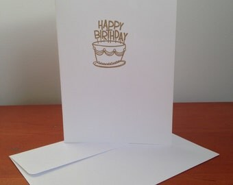 Heat Embossed Card – Birthday Cake in Gold on White