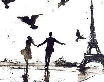 Paris Love Romance Art Print from Original Watercolor Painting - Watercolor Illustration by Lana Moes - Paris je t'aime