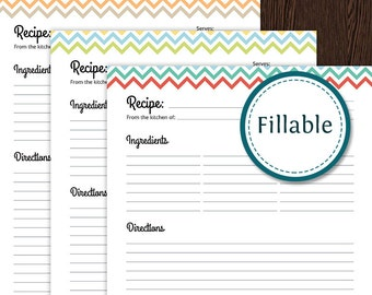 Recipe Card Full Page - Colourful Chevron - Fillable - Printable PDF - Instant Download - Household Binder