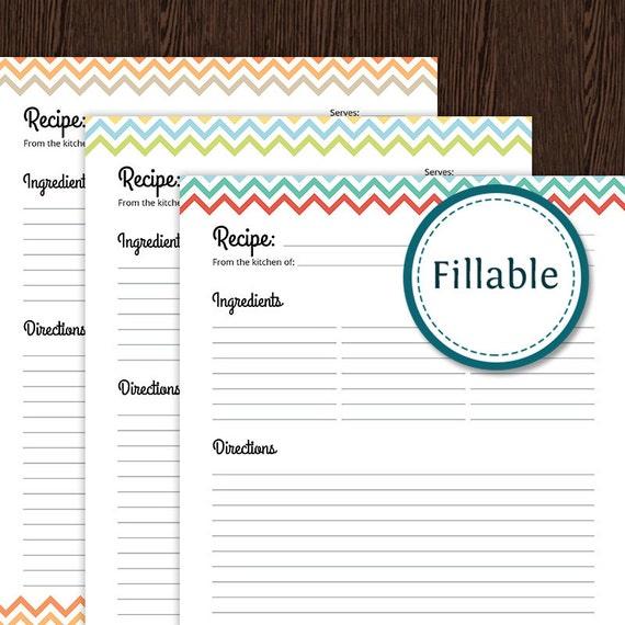 recipe card full page colourful chevron fillable