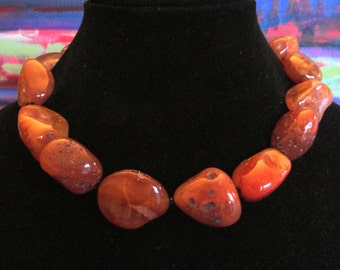 18 inch necklace of large carnelian chunks, crystals and vermeil J hook clasp