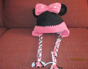 Baby Crochet Hat Minnie Mouse Ears Bow