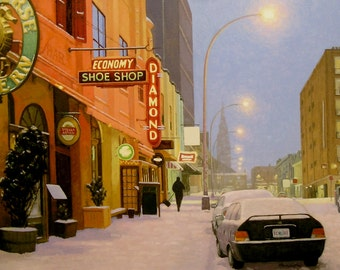 "Light Snow on Argyle Street 7.5"" x 15"" Image on 11"" x 17"" paper by Paul Hannon FREE SHIPPING Canada & US"