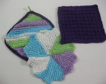 Springtime Hand Knit Dish Cloth Set