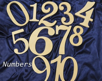 Wooden Number Set - Unfinished Numbers 0-10 Wood Baby Shower Decor - Unpainted Wooden Numbers