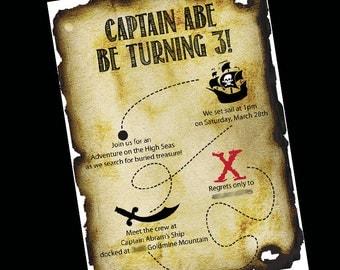 Pirate Birthday Invitation, Pirate Birthday, Pirate Theme Party, Pirate Invite, Custom Invite