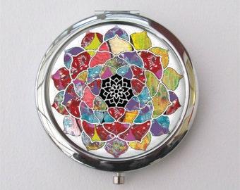 Compact Mirror, Mandala Art, Purse Mirror, Mandala Mirror