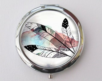 Compact Mirror, Feather Art, Purse Mirror
